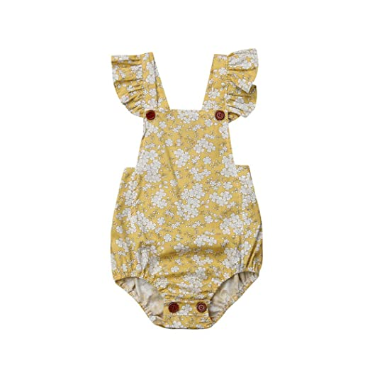 6d878a0599a0 Infant Baby Girl Twins Ruffle Sleeve Floral Romper Bodysuit Bowknot Newborn  Girl Clothes Outfit (Yellow