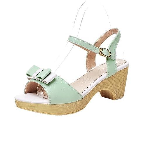 05b4d8a8ab3 AalarDom Mujer Puntera Abierta Tacón Medio PU Sólido Hebilla Sandalias de  Vestir  Amazon.es  Zapatos y complementos