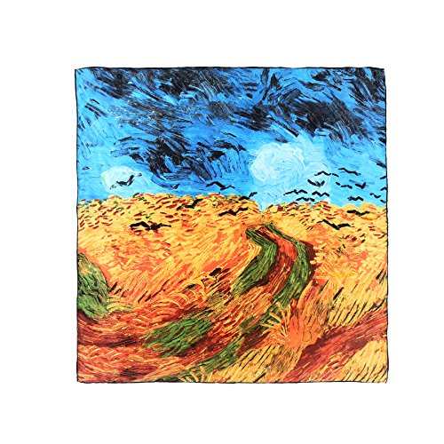 - Aqueena Women's 100% Luxury Charmeuse Satin Square Silk Scarf Oil Paintings