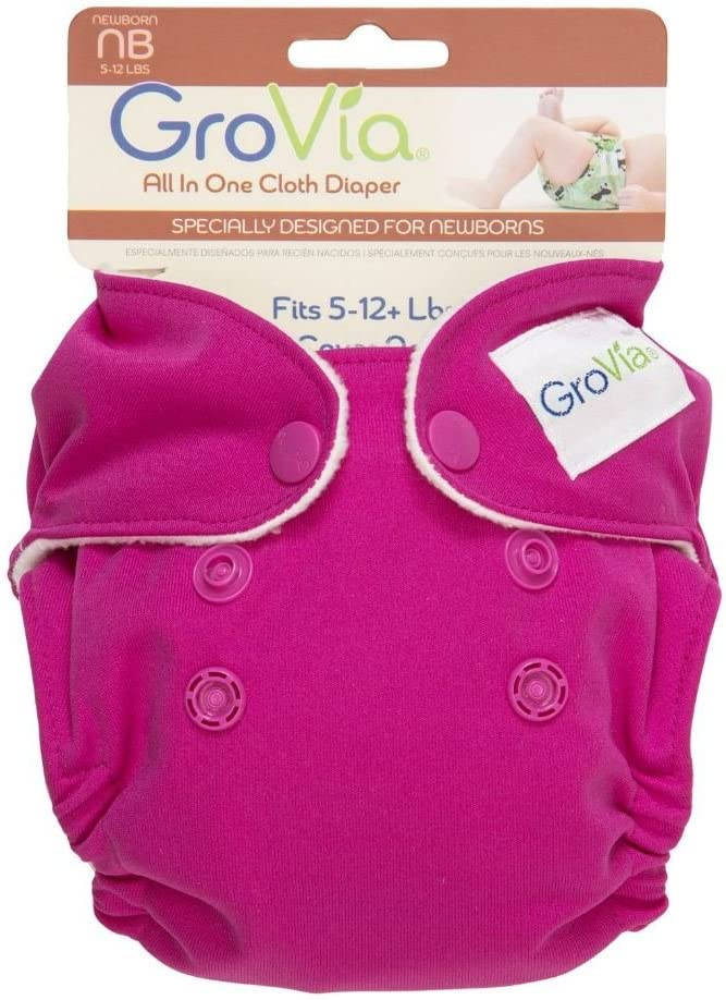 GroVia Newborn All in One Cloth Nappy for baby in Lotus