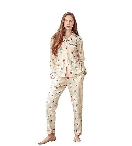 Lady beige de punto de algodón pijamas chica linda de dibujos animados de tejer mangas largas
