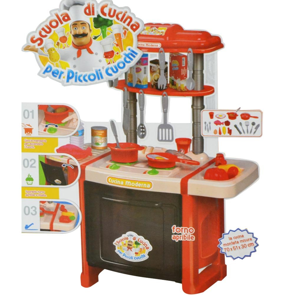 RSTA 10186 Children's Kitchen Toy with 24 Accessories with Lights and Sounds Height 70 cm Small Chef Red