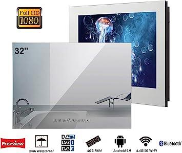 Soulaca innovativtv LED Andriod Smart TV Baño Espejo Frontal 32 Pulgadas Resistente al Agua IP66 con Wi-Fi Incorporado: Amazon.es: Electrónica