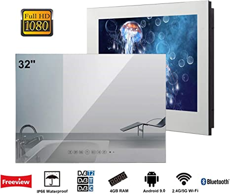 Soulaca innovativtv LED Andriod Smart TV Baño Espejo Frontal 32 Pulgadas Resistente al Agua IP66 con Wi-Fi Incorporado: Amazon.es: Electrónica