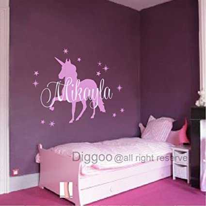 Baby Nursery Wall Decals Personalized Names Wall Decal with Unicorn For  Girls Room (29\