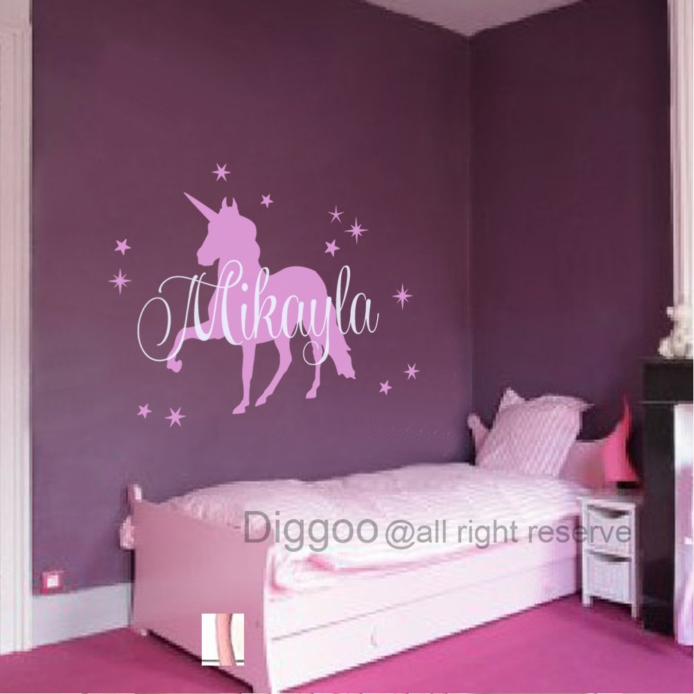 Baby Nursery Wall Decals Personalized Names Wall Decal with Unicorn For Girls Room (29'' h x 38'' w PLUS FREE WELCOME DOOR DECAL)