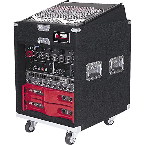 Odyssey CXP1110W Pro Combo Carpeted Rack With Recessed Hardware And Wheels: 11u Top, 10u Bottom 10 Space Combo Rack Case