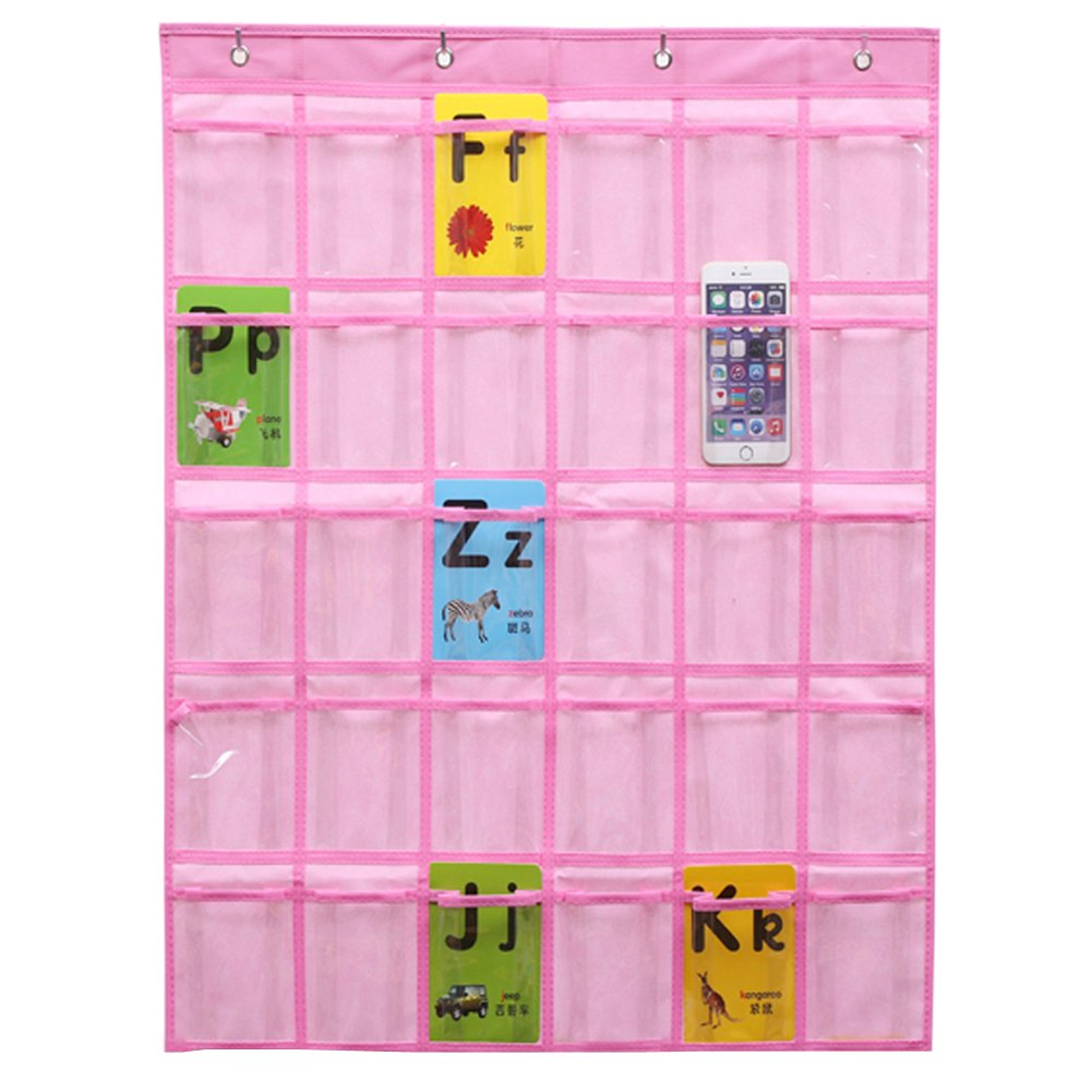 Fittoway Nonwovens 30 Pockets Classroom Pocket Charts for Cell Phones Wall Door Hanging Organizer with 4 Hooks (Pink)