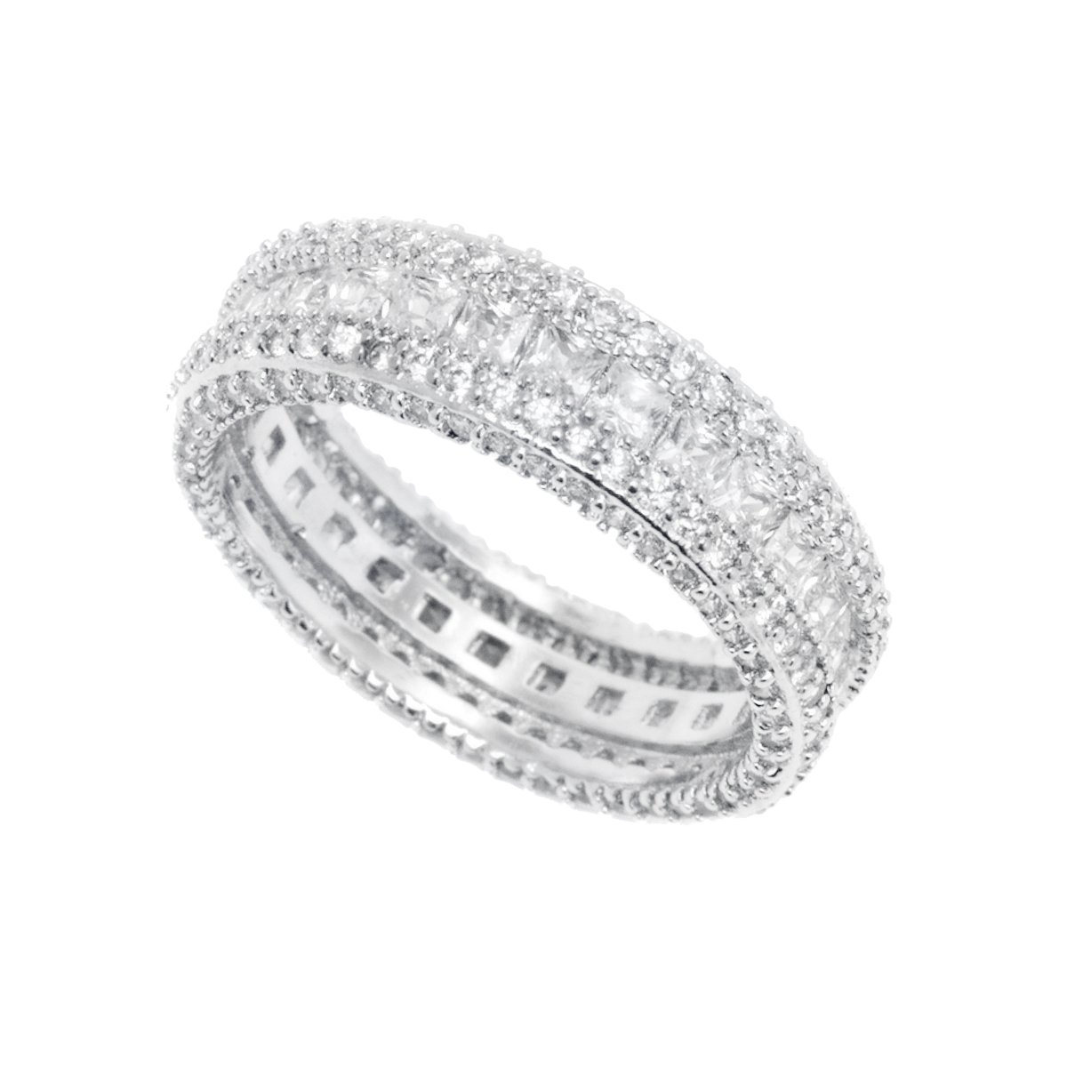 White Gold & CZ French-Cut Eternity Band (8)