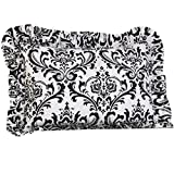 Cotton Tale Designs 100% Cotton Black & White Floral Damask Standard Ruffled Pillow Sham - Girl - Pillow Cover