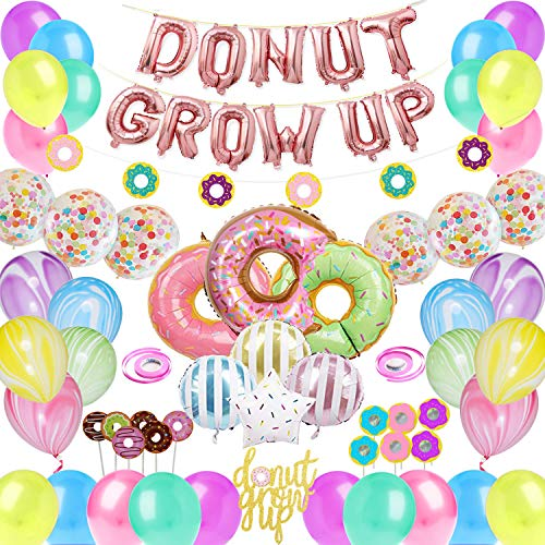 CNsoyee 60 Pcs Donut Grow Up Party Decoration Kit-Doughnut Birthday Party decoration set Party Supply Party Favor Pack with Rose Red Donut Grow Up Banner Latex Balloon Foil balloon Multicolored -