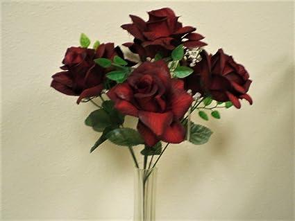 Amazon phoenix silk 2 bushes open rose 7 artificial silk phoenix silk 2 bushes open rose 7 artificial silk flowers 15quot bouquet sn039 mightylinksfo