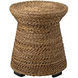 East at Main Divine Brown Abaca Round Accent Table, (19.5x19.5x21.5)