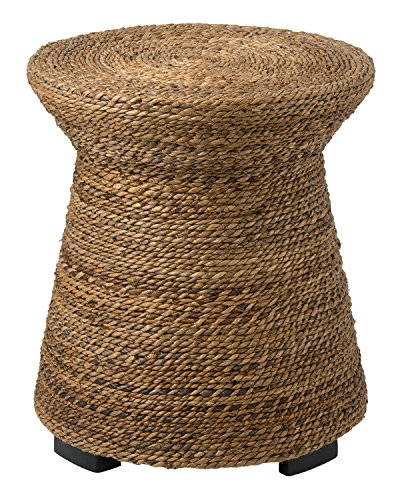 (East at Main Divine Brown Abaca Round Accent Table, (19.5x19.5x21.5))