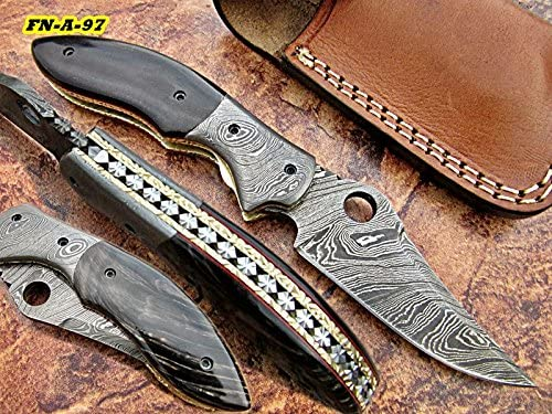 FN-43 Custom famous Handmade Damascus Steel - Folding Knife Beautiful In stock B