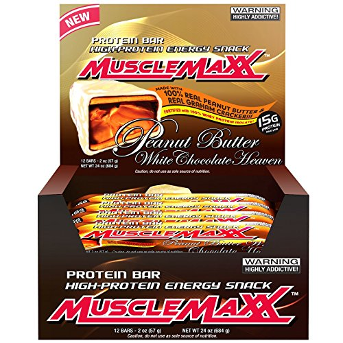 MuscleMaxx High-Protein Energy Snack Protein Bar Peanut Butter White Chocolate Heaven 12 Bars 2 oz 57 g