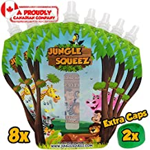 Jungle Squeez™ Reusable Food Pouch (8 Pack)   ★ 100% MONEY BACK ★   Homemade Baby Food Storage for Kids