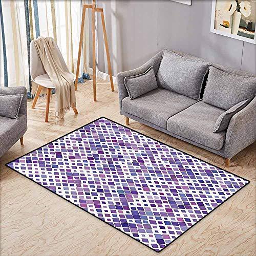 Hallway Rug,Lavender,Purple Retro Mosaic Creative Pattern Square Rhythm Abstract Art Print Design,Large Area mat,5'3