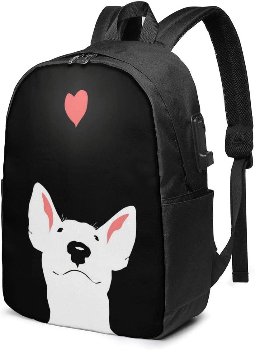 Bull Terrier Dog Love Personality 17 Inch College School Computer Bag Laptop Backpack with USB Charging Port for Women Men College Student Travel Outdoor Camping Daypack