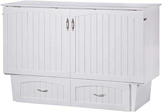 Amazon Com Atlantic Furniture Nantucket Murphy Bed Chest With Charging Station Mattress Queen White Kitchen Dining