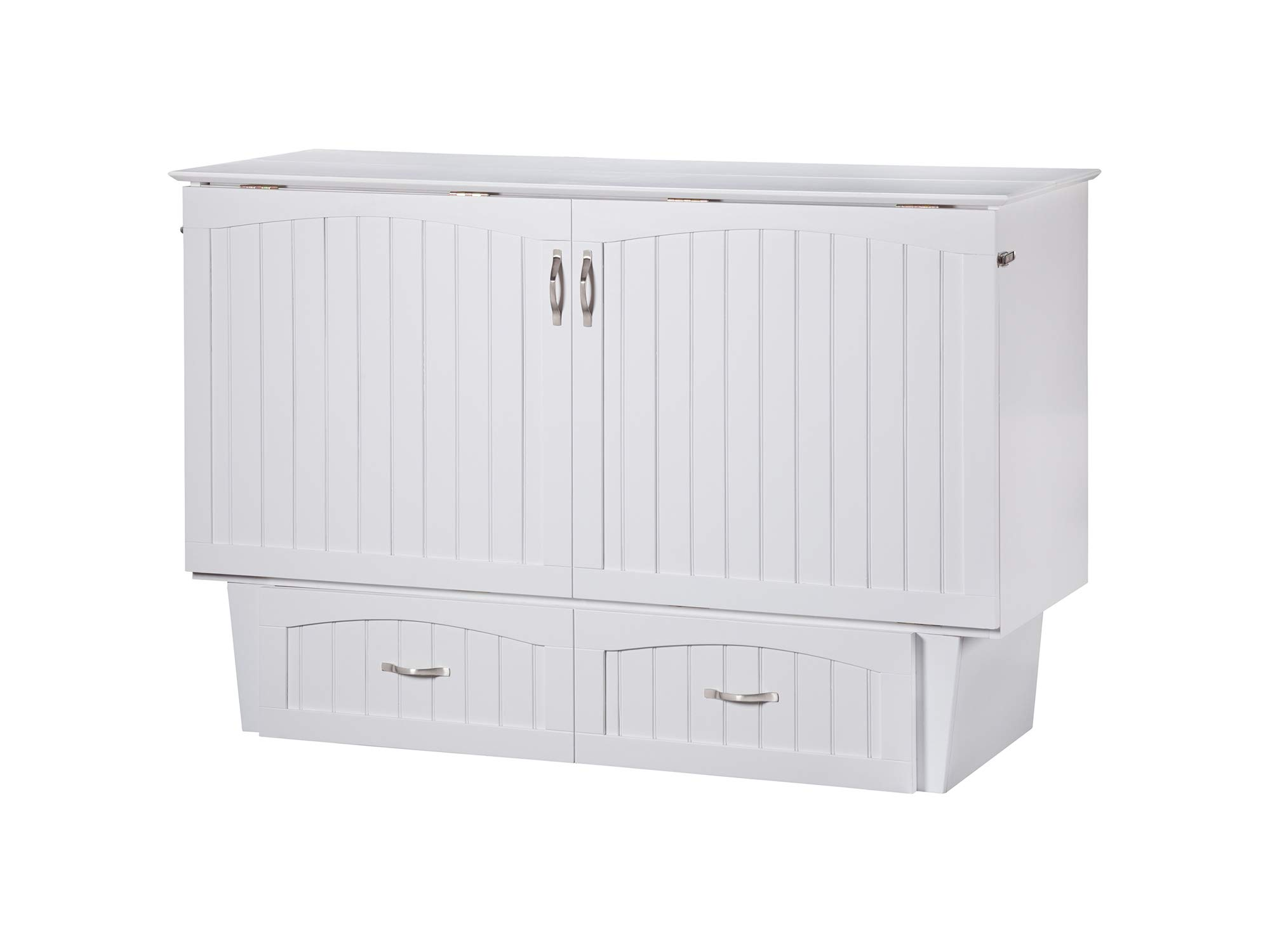 Atlantic Furniture Nantucket Murphy Bed Chest with Charging Station & Mattress, Queen, White by Atlantic Furniture