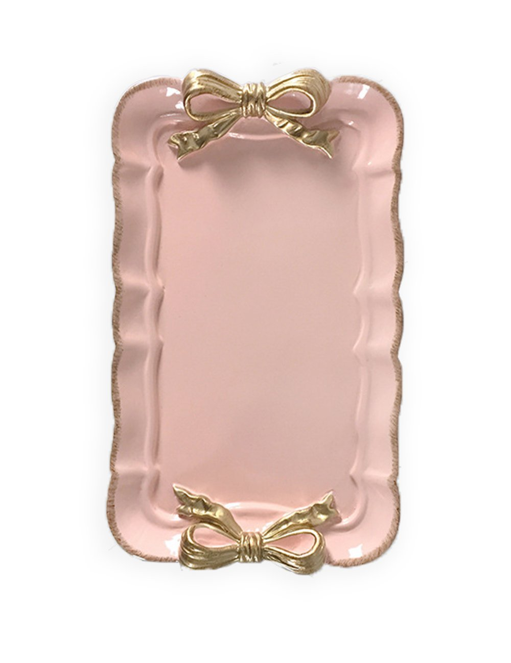 What's Fun Retro Rectangle Butterfly Bowknot Decorative Tray Plate for Dessert/Cake/Cafe/Home Décor (Pink)