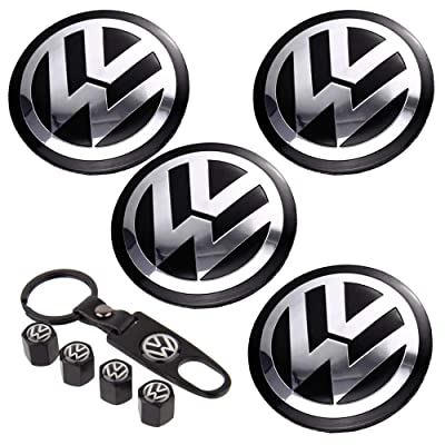 Taoku 4PCS 65mm Car Wheel Center Hub Caps Emblem Sticker for V W+4PCS Car Tire Valve Air Caps+1PC Key Chain Fit V W Accessories: Automotive