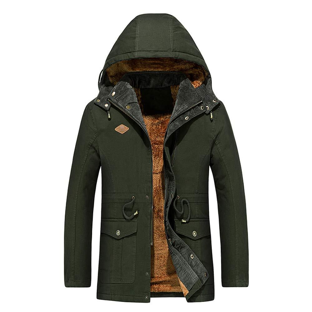 Army Green Medium Men's Warm Cotton Coat, Winter Hooded Zipper Button Down Jacket Thickened Windbreaker Mid Length Outwear M4XL
