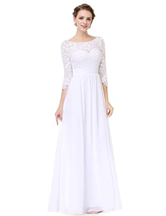 90a4fbe4 Ever-Pretty Women's Lace Long Sleeve Floor Length Evening Dress 08412 -  White -: Amazon.co.uk: Clothing