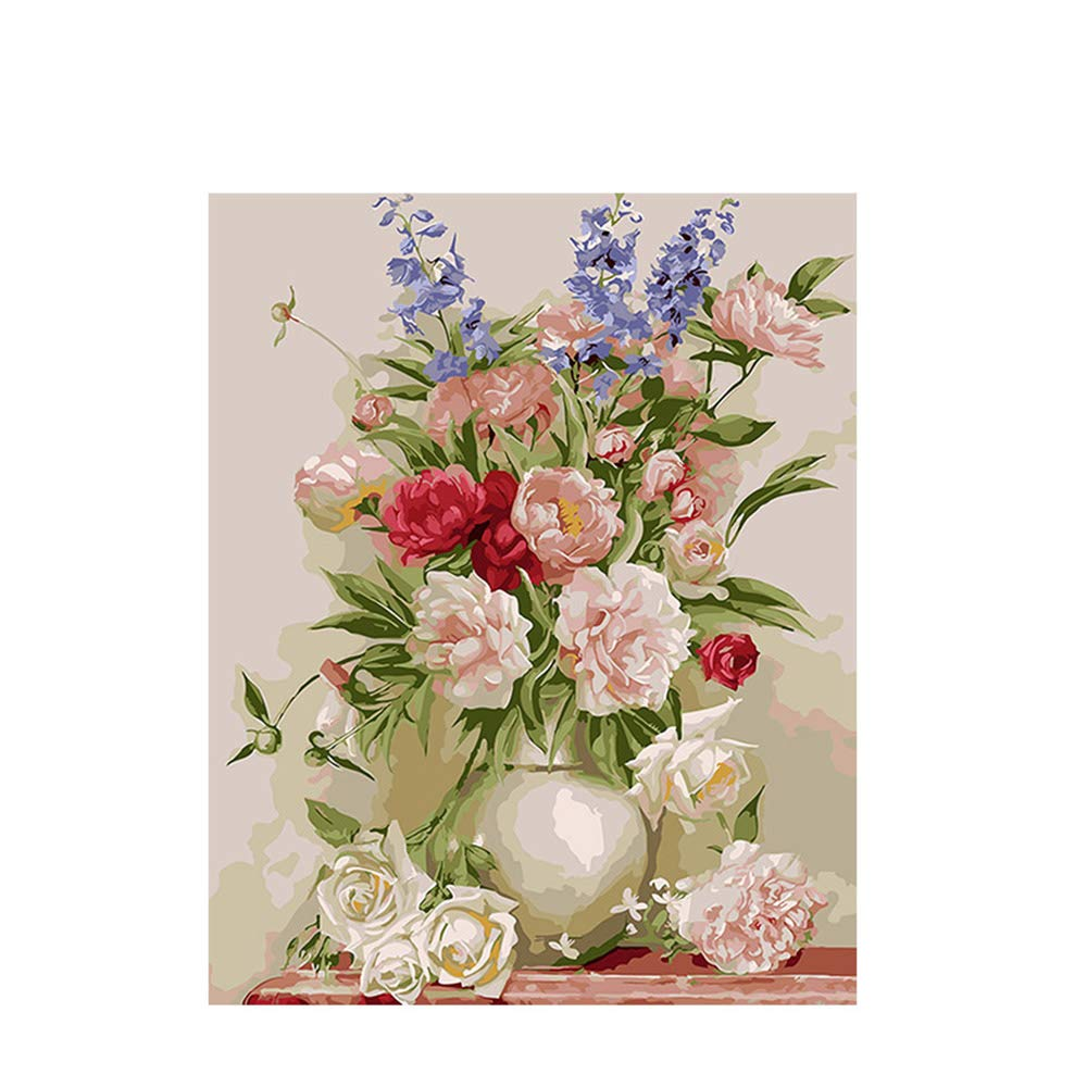 ventas en linea 40x50cm 40x50cm 40x50cm Diy Frame NGDDXTG Flower and Vase Painting by Numbers DIY Digital Wall Canvas Art Picture Coloring by Numbers For Home Wall Artwork  grandes ahorros