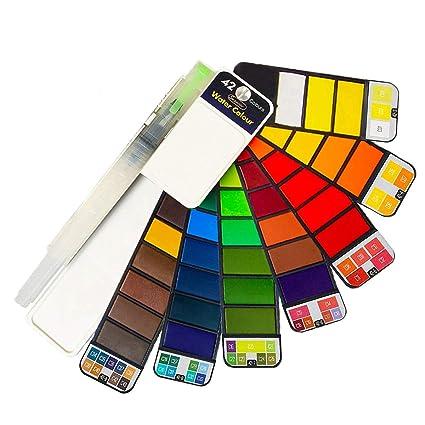 Amazon.com: Juego de pintura de acuarela – 42 colores, traje ...
