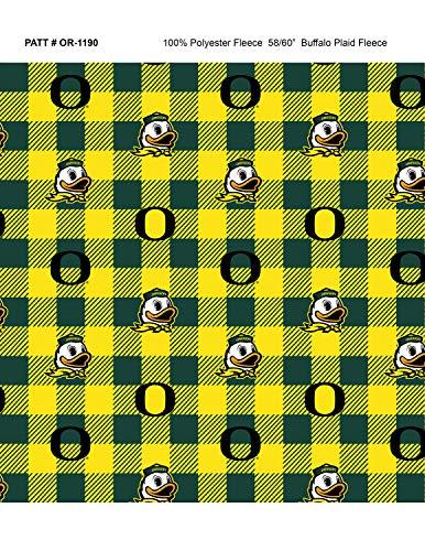 (University of Oregon Fleece Blanket Fabric-Oregon Ducks Fleece Fabric with Buffalo Plaid Design)