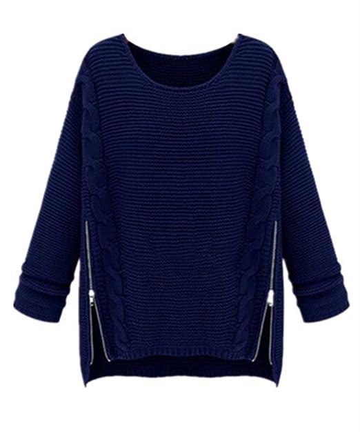 Gogofuture Maglione Donna Maglieria Pullover Taglie Forti Elegante  Sweatshirt Manica Lunga Casual Puro Colore Felpe Inverno Moda Maglie Con  Cerniera  ... 71423473129