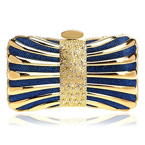 Sacs Mini Box 5 Designer Couleurs Bleu Mode Purse Femmes Pochette Sacs Bowknot Soirée pour Glitter pwnCqx4P5H