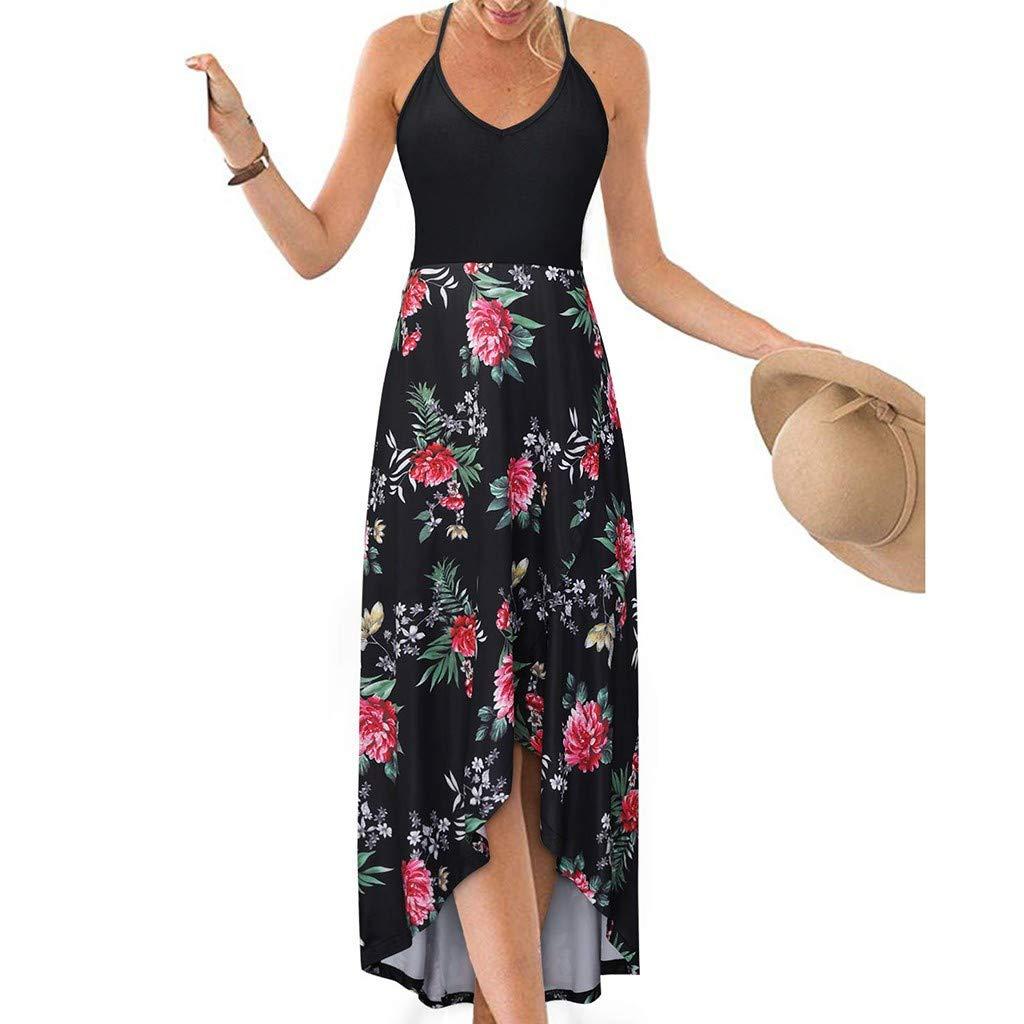 Women's V Neck Sleeveless Summer Asymmetrical Patchwork Floral Maxi Dresses Red by Sinzelimin Womens Dress