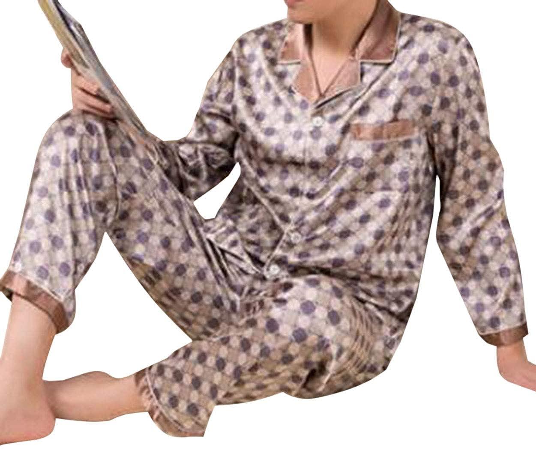 GRMO Men Long Sleeve Sleepwear Silk Satin Pajama Set Pajama Shirt and Pant Satin