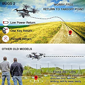 MYSTERY STONE RC GPS Drone with Camera 1080P HD, MJX Bugs 2 Brushless Quadcopter Drone with Hover, Smart Return System for Beginners Women and Men taking photos Videos Black Best Christmas Gift Idea