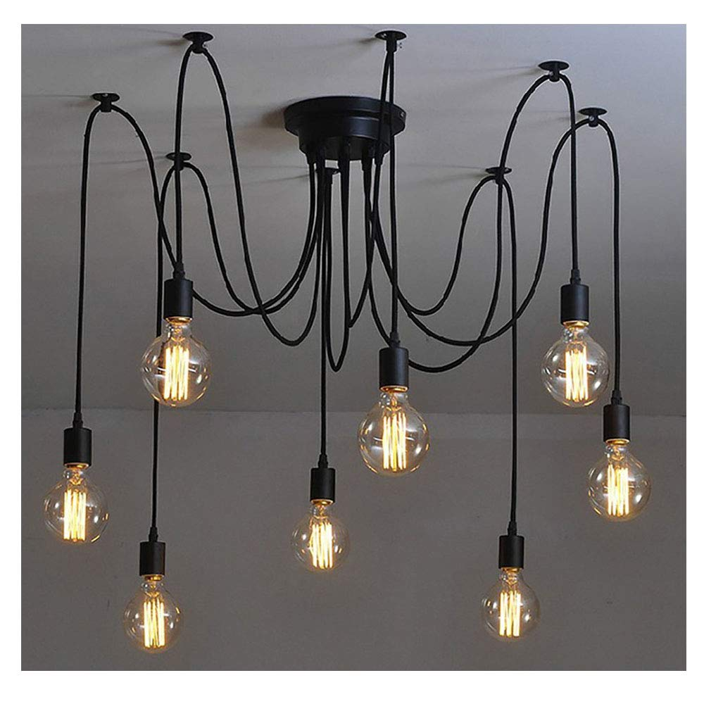 Navimc black vintage industrial pendant light fixtures spider pendant lighting edsion 8 heads ceiling chandelier light amazon com