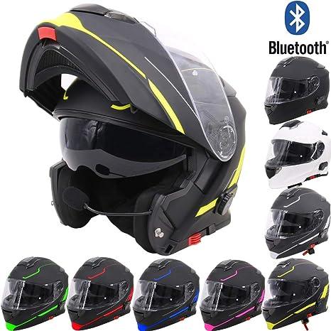 63-64cm Matt Black XXL Leopard LEO-727 DVS Latest Bluetooth Modular Flip up Motorbike Motorcycle Helmet Pinlock Lens Included Double Visor