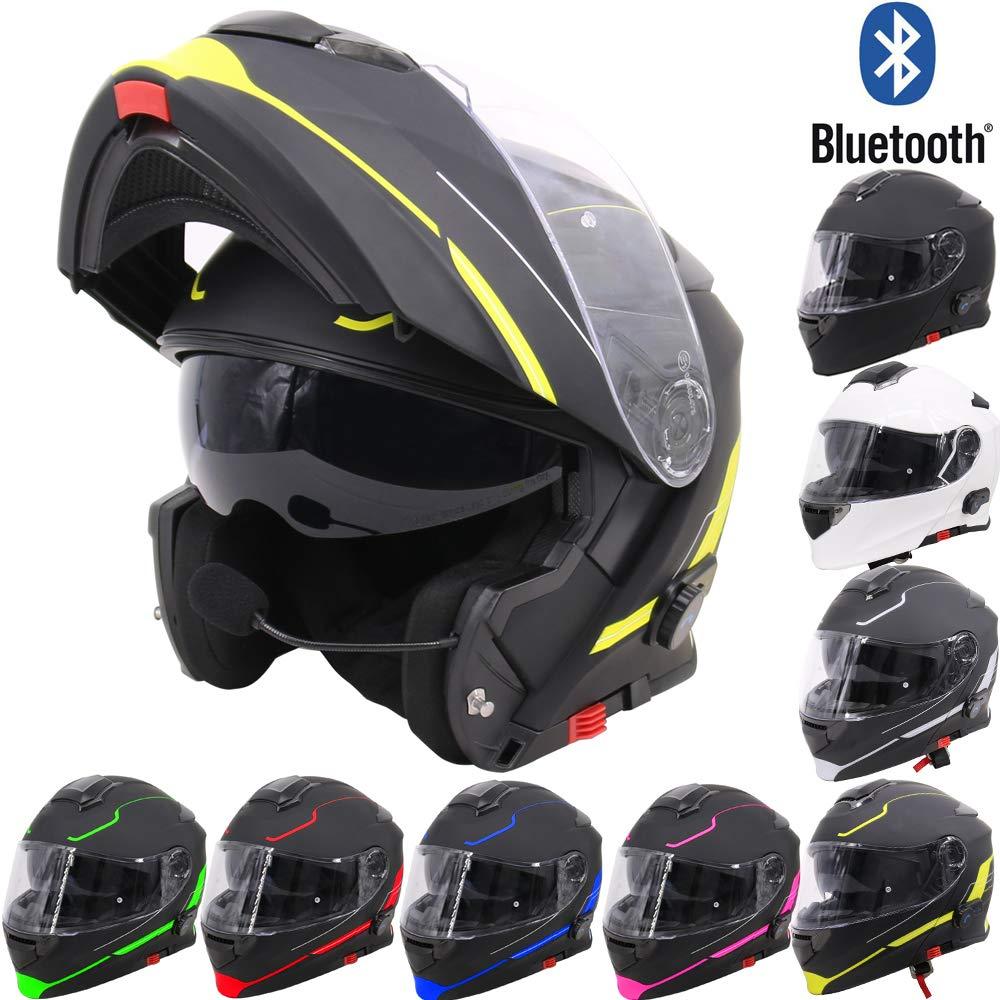 63-64cm Extra Iridium Visor,Dual-Speaker Headset,Hands-Free,Noise-Free,Automatic Answering,Double Visor Leopard LEO-727 Anti-fog Visor Flip up Motorbike Bluetooth Helmet,#8 Matt Black//Pink XXL