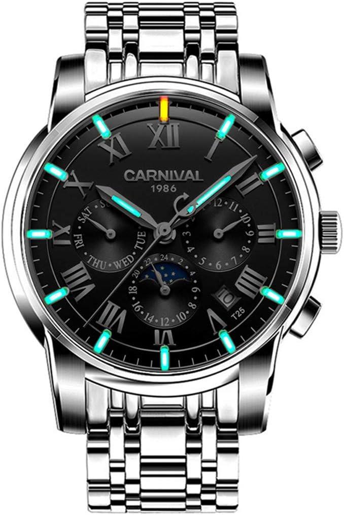 Carnival Reloj De Hombre Automático Núcleo Mecánico Indicador De Fecha Cristal De Zafiro Relojes De Pulsera Antiarañazos