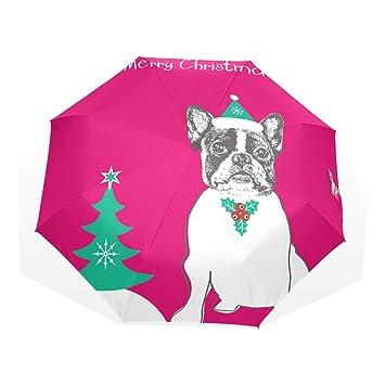 GUKENQ - Paraguas de Viaje Ligero antirayos UV, diseño de Bulldog francés, para Hombres