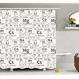 Periodic Table Shower Curtain by Ambesonne, School Life Smart Kids Inspired Chemisty Elements in Squares Print, Fabric Bathroom Decor Set with Hooks, 70 Inches, Black and White