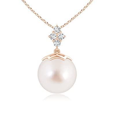 Angara South Sea Cultured Pearl Drop Pendant with Diamond Clusters T5lwg