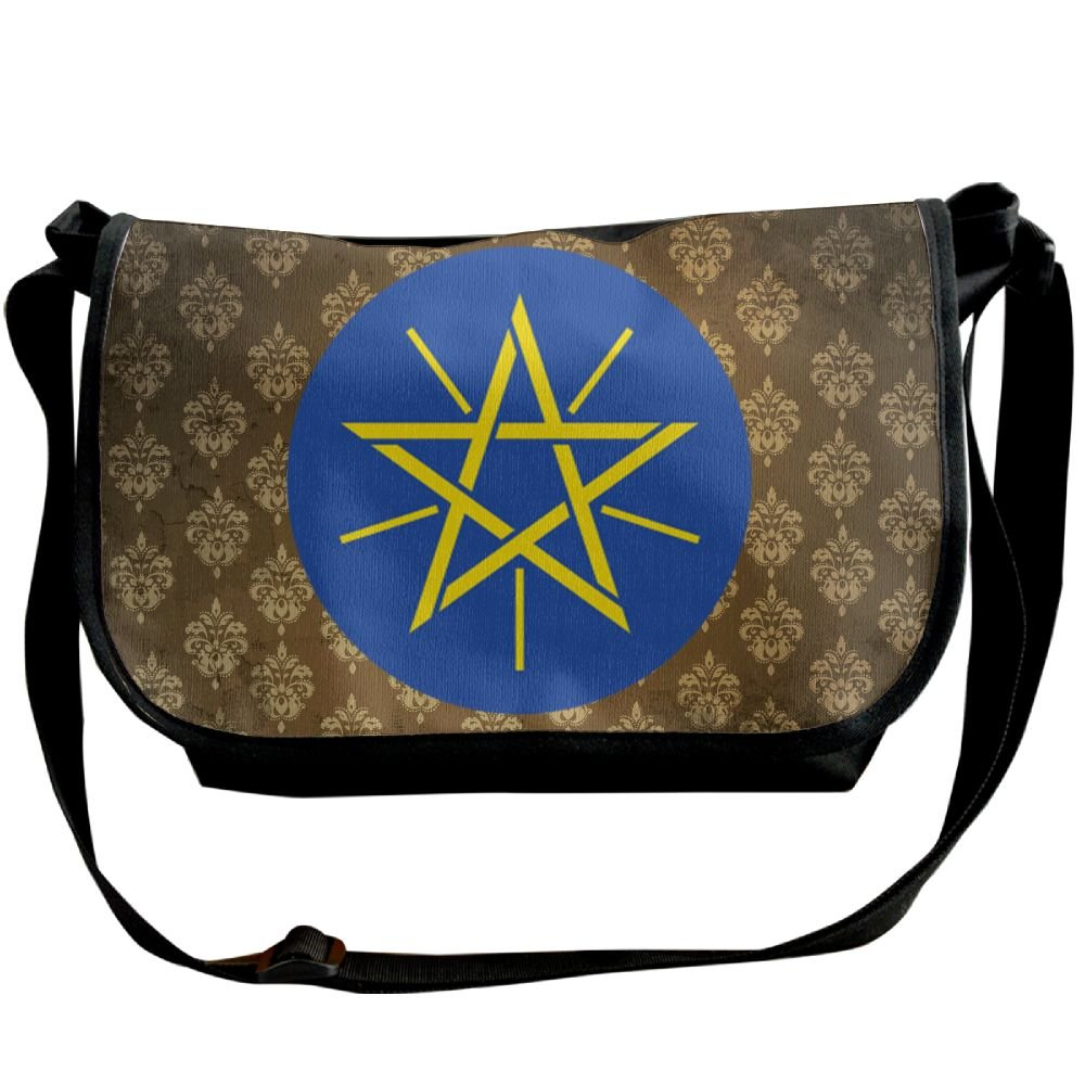 Lov6eoorheeb Unisex Coat Of Arms Of Ethiopia Wide Diagonal Shoulder Bag Adjustable Shoulder Tote Bag Single Shoulder Backpack For Work,School,Daily