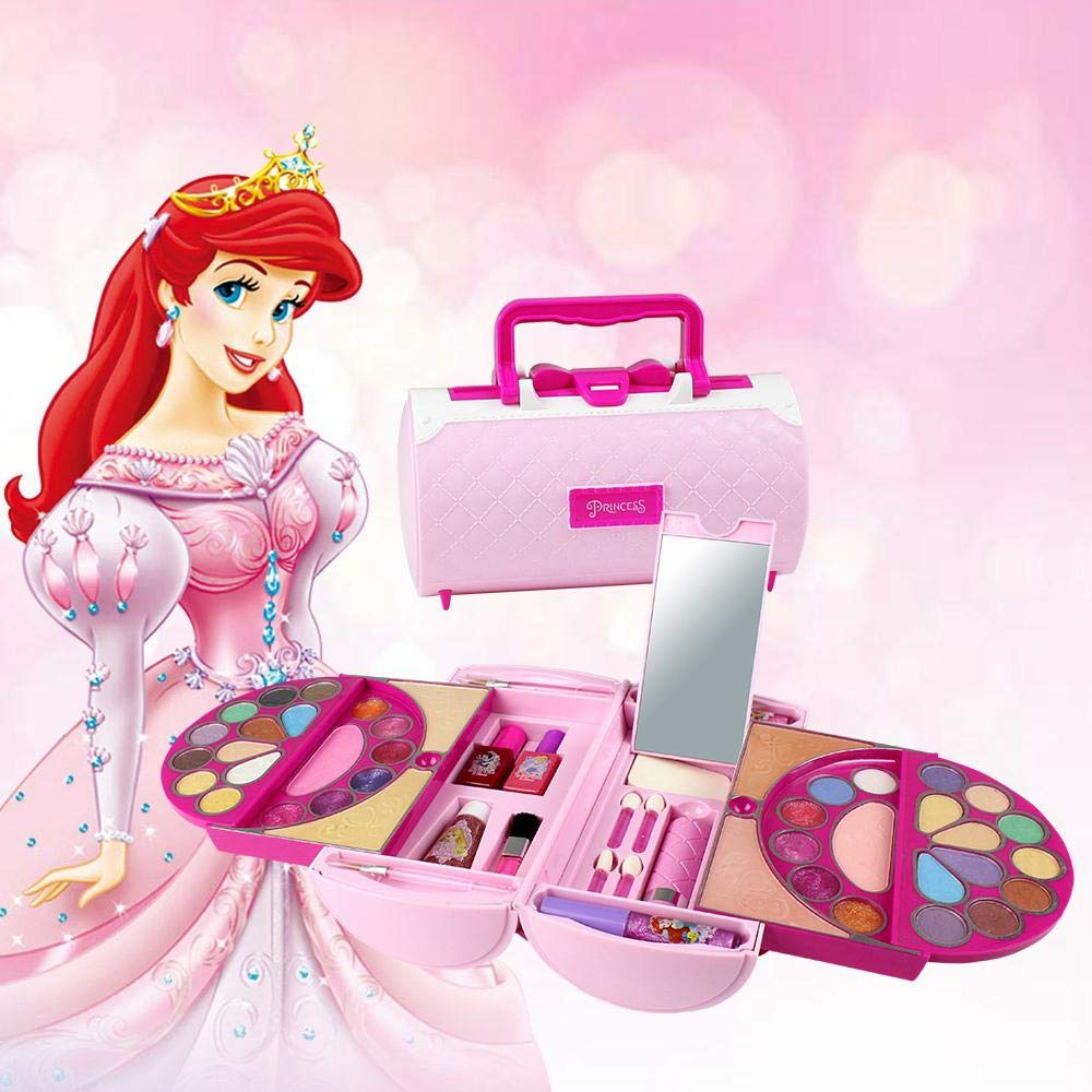 Geggur Princess Girls All-in-One Deluxe Cosmetics Play Set,Princess Style Vanity kid cosmetic set disney Toy Beauty Set Cosmetic Makeup Toy Set Kit for Little Girls & Kids(Disney Licensed Products)