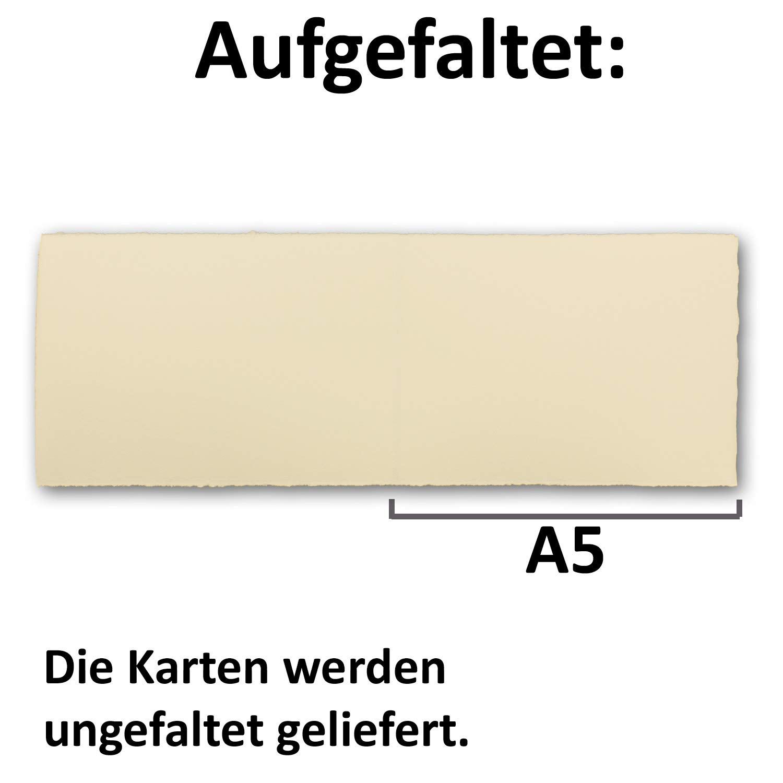 50x DIN A5 Vintage Vintage Vintage Falt-Karten, echtes Bütten-Papier, 148 x 210 mm - quer-doppelt, Chamois-Elfenbein 250 g m² - Vellum Oberfläche - Original Zerkall-Bütten B07NRW9JRP | Speichern  2258cb