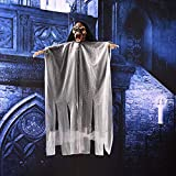 Wingbind Halloween Decoration,Hanging Ghost Skull Flashing Red Eyes Scary Sound