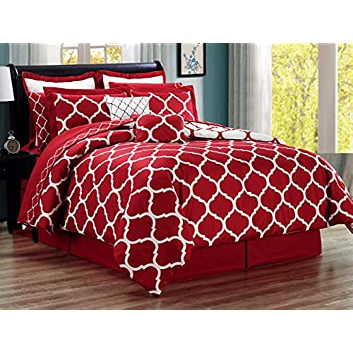 12 Piece Oversize Lattice Quatrefoil Designer Comforter Set Queen Size Bed  In A Bag With Sheets, Euro Shams And Decorative Pillows (Burgundy Red,  White)