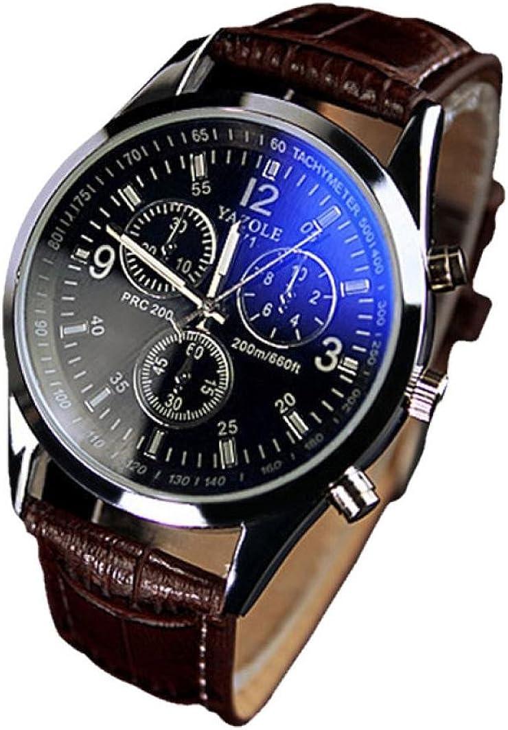Fower&YY de Hombre de Moda Blue Ray de Cristal Cuarzo analógico Reloj